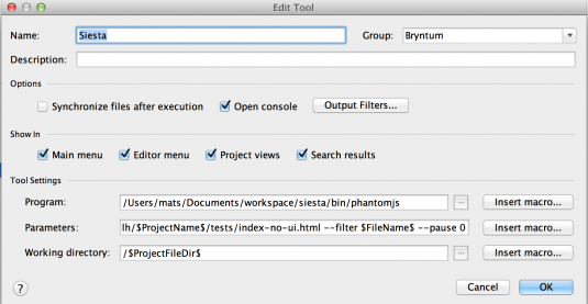 External Tools in WebStorm