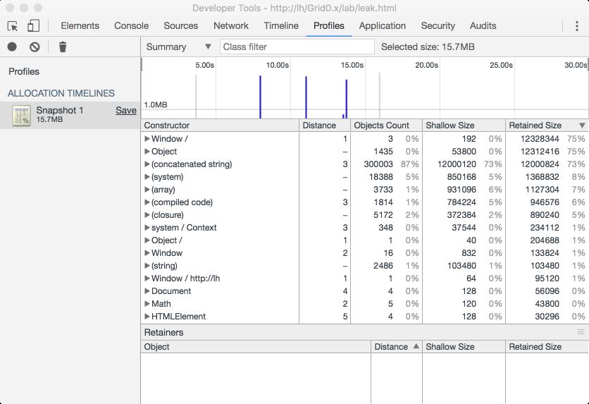 Debugging memory leaks in web applications using iframes