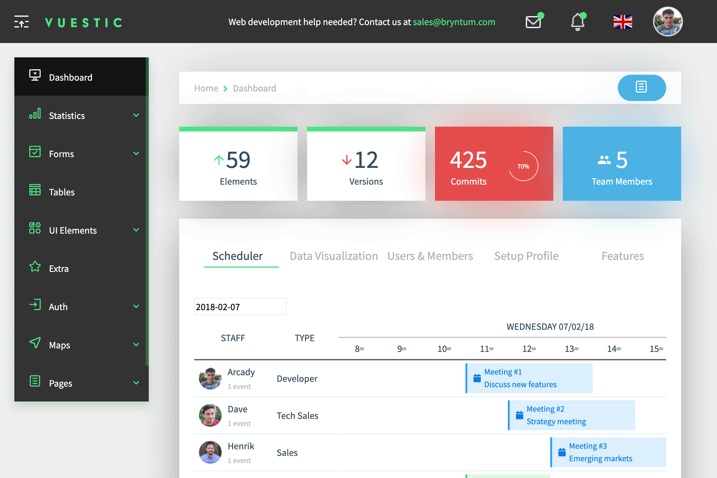 New Vue demo based on the Vuestic template
