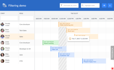 Scheduler with Filtering in React Screenshot