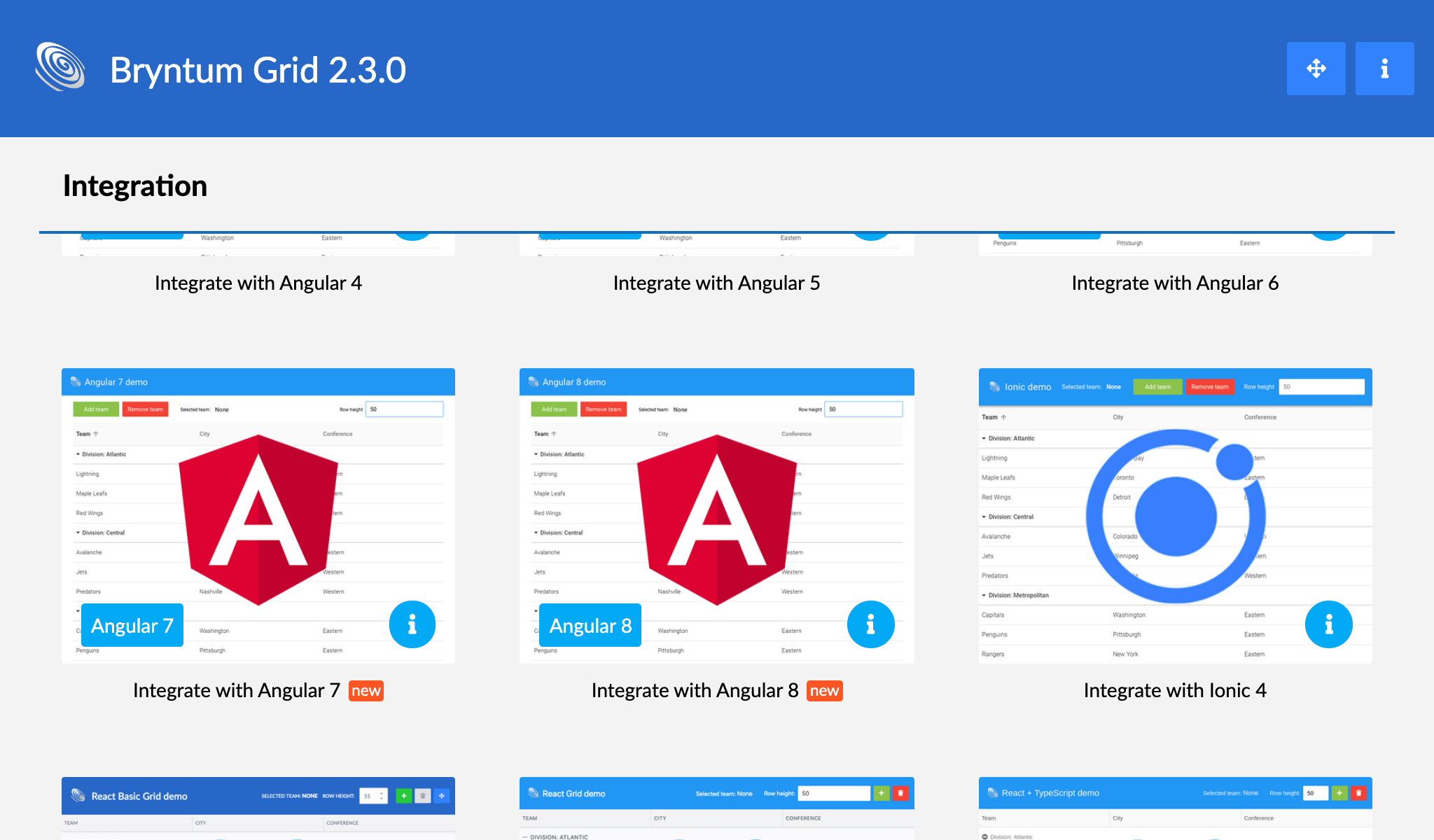 New Angular 7 & 8 demos