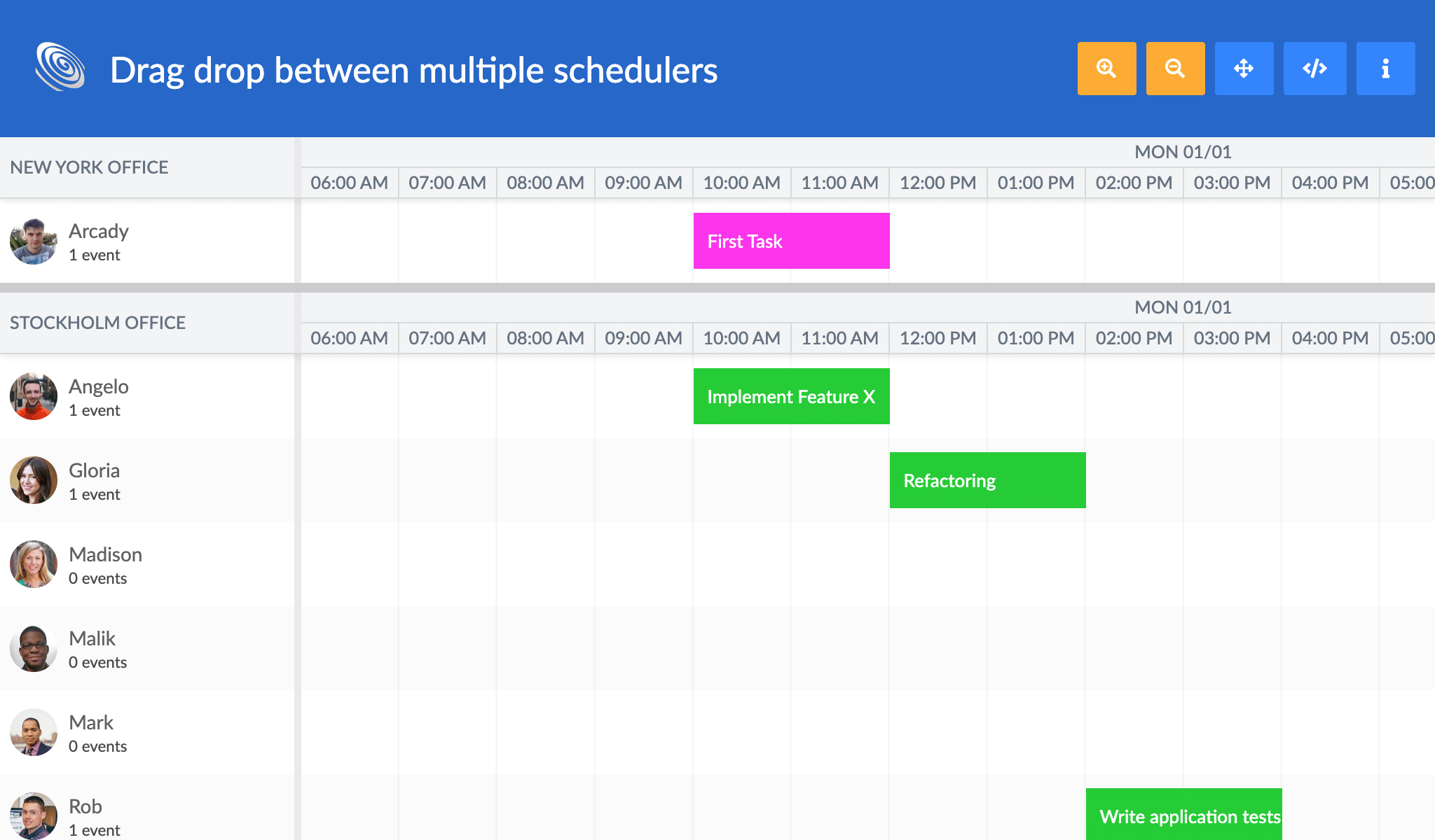 Drag between schedulers demo with a new splitter