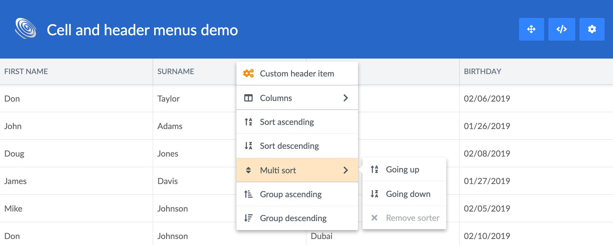 Customized header menus